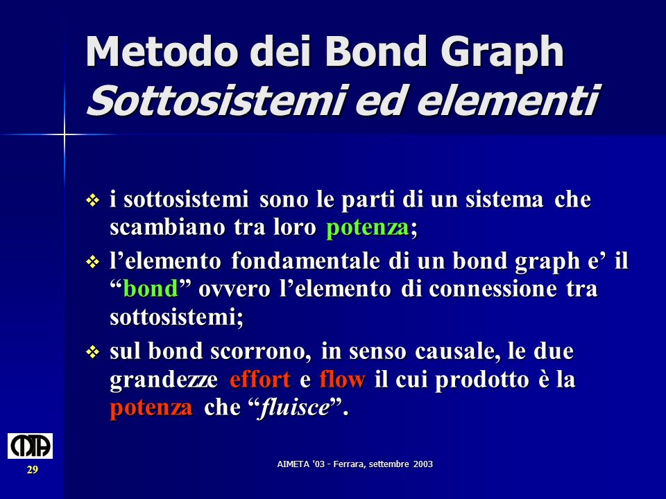 AIMETA '03 - Ferrara, settembre 2003 29 Metodo dei Bond Graph Sottosistemi ed elementi i sottosistemi sono le parti di un sistema che scambiano tra lo