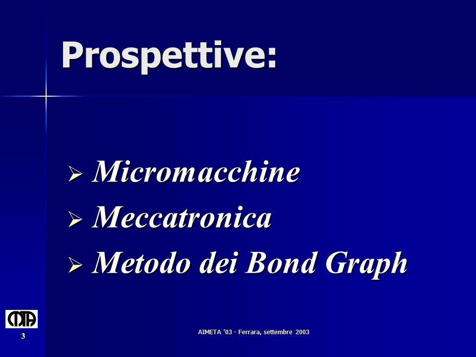 AIMETA '03 - Ferrara, settembre 2003 3 Prospettive: Micromacchine Micromacchine Meccatronica Meccatronica Metodo dei Bond Graph Metodo dei Bond Graph