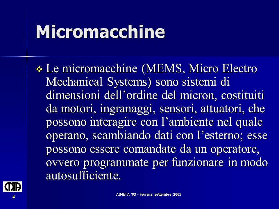 AIMETA '03 - Ferrara, settembre 2003 4 Micromacchine Le micromacchine (MEMS, Micro Electro Mechanical Systems) sono sistemi di dimensioni dellordine d