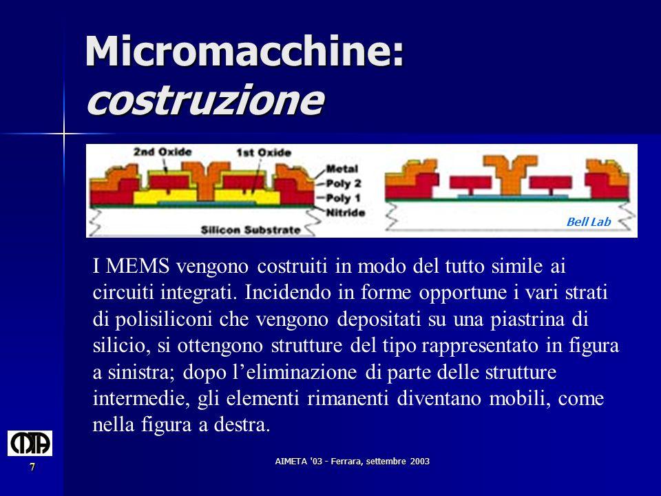 AIMETA '03 - Ferrara, settembre 2003 7 Micromacchine: costruzione I MEMS vengono costruiti in modo del tutto simile ai circuiti integrati. Incidendo i