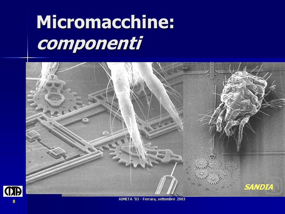 AIMETA '03 - Ferrara, settembre 2003 8 Micromacchine: componenti SANDIA