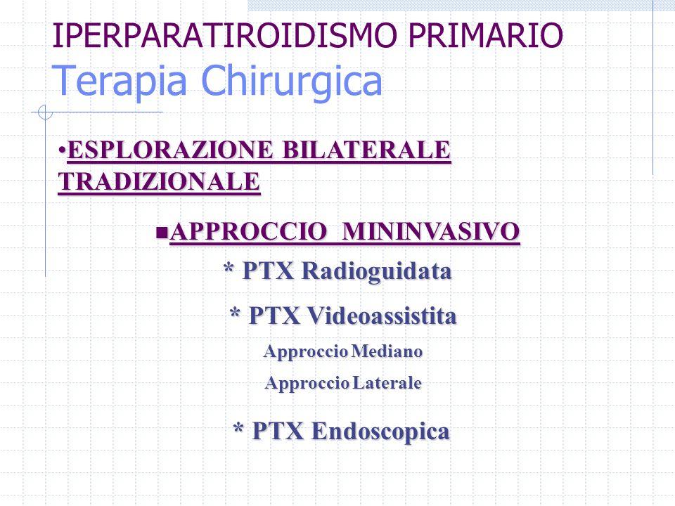 IPERPARATIROIDISMO PRIMARIO Terapia Chirurgica APPROCCIO MININVASIVO APPROCCIO MININVASIVO ESPLORAZIONE BILATERALE TRADIZIONALEESPLORAZIONE BILATERALE