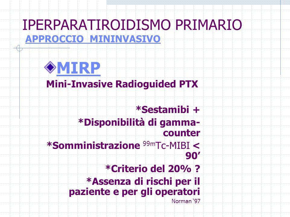 IPERPARATIROIDISMO PRIMARIO APPROCCIO MININVASIVO MIRP Mini-Invasive Radioguided PTX *Sestamibi + *Disponibilità di gamma- counter *Somministrazione 9