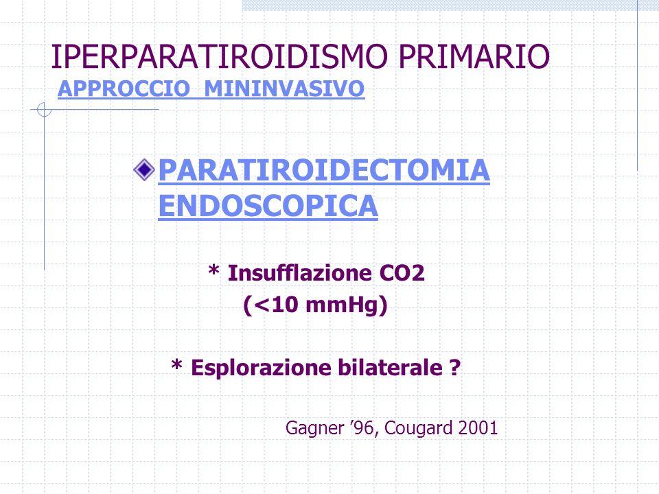 IPERPARATIROIDISMO PRIMARIO APPROCCIO MININVASIVO PARATIROIDECTOMIA ENDOSCOPICA * Insufflazione CO2 (<10 mmHg) * Esplorazione bilaterale ? Gagner 96,