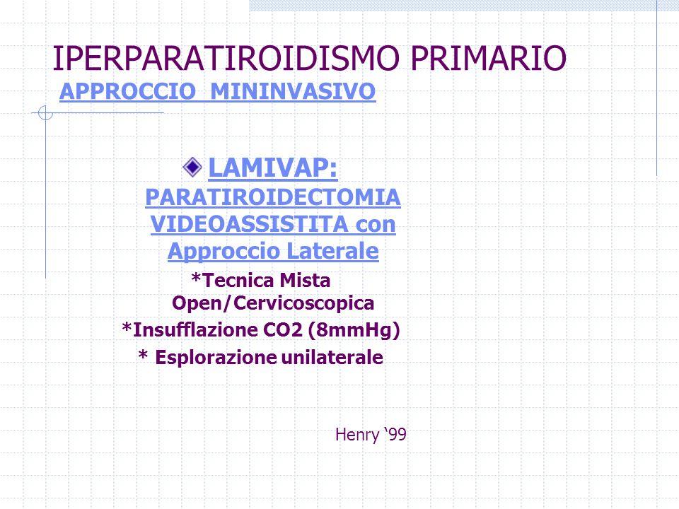 IPERPARATIROIDISMO PRIMARIO APPROCCIO MININVASIVO LAMIVAP: PARATIROIDECTOMIA VIDEOASSISTITA con Approccio Laterale *Tecnica Mista Open/Cervicoscopica