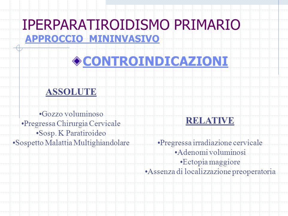 IPERPARATIROIDISMO PRIMARIO APPROCCIO MININVASIVO CONTROINDICAZIONI ASSOLUTE Gozzo voluminoso Pregressa Chirurgia Cervicale Sosp. K Paratiroideo Sospe