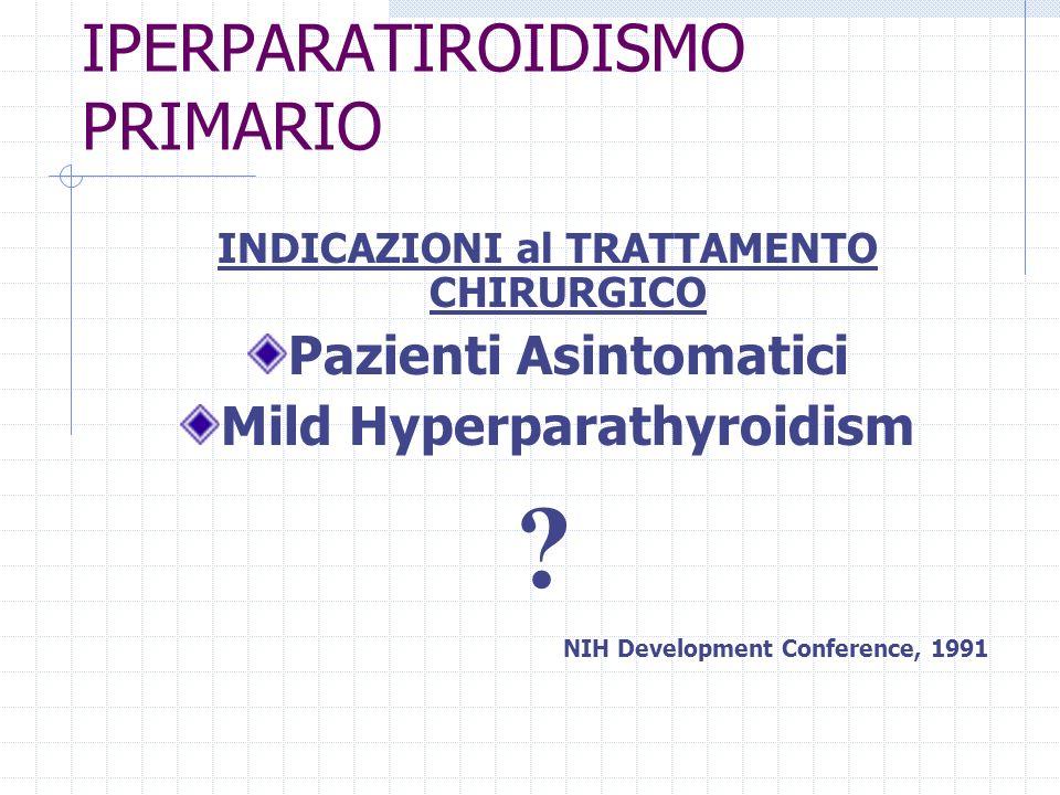 IPERPARATIROIDISMO PRIMARIO Terapia Chirurgica APPROCCIO MININVASIVO APPROCCIO MININVASIVO ESPLORAZIONE BILATERALE TRADIZIONALEESPLORAZIONE BILATERALE TRADIZIONALE * PTX Radioguidata * PTX Videoassistita Approccio Mediano Approccio Laterale * PTX Endoscopica