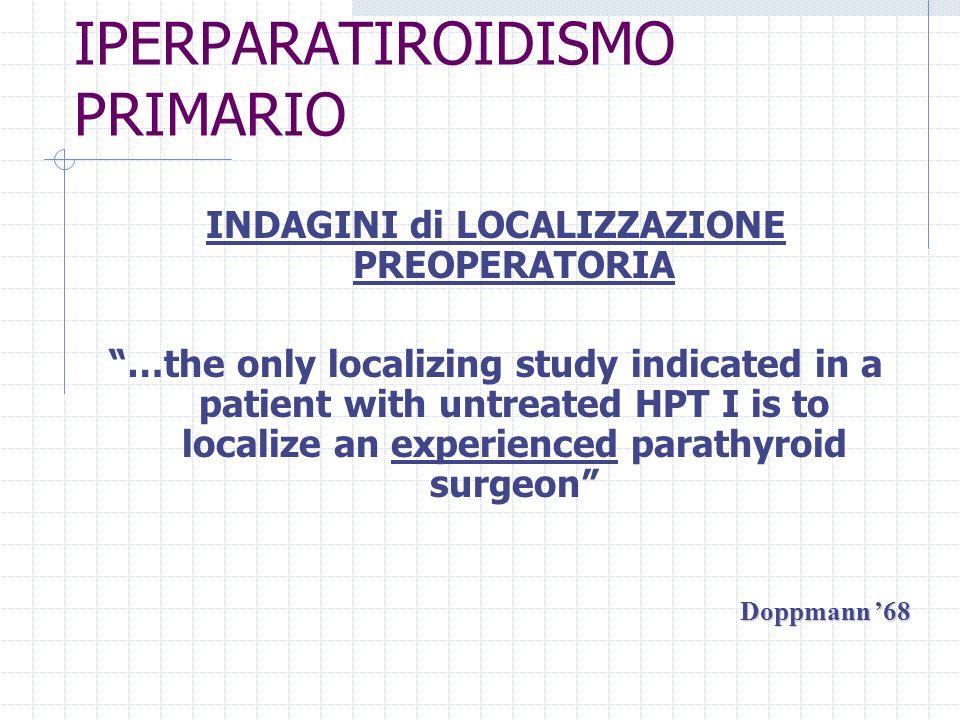 IPERPARATIROIDISMO PRIMARIO INDAGINI di LOCALIZZAZIONE PREOPERATORIA USTC/MRIMIBI Sensibilità 20–80%50 – 80%80 – 90 % Costi +++ Operatore Dipendenza ++++++