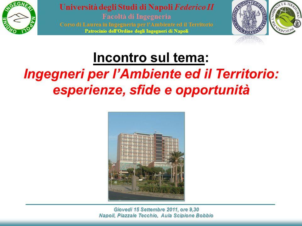 Giovedì 15 Settembre 2011, ore 9,30 Napoli, Piazzale Tecchio, Aula Scipione Bobbio Foto della torre di piazzale Tecchio Incontro sul tema: Ingegneri p