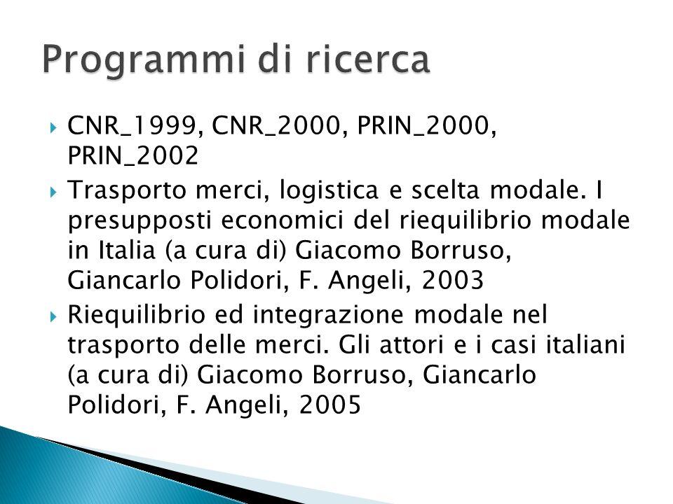 CNR_1999, CNR_2000, PRIN_2000, PRIN_2002 Trasporto merci, logistica e scelta modale. I presupposti economici del riequilibrio modale in Italia (a cura