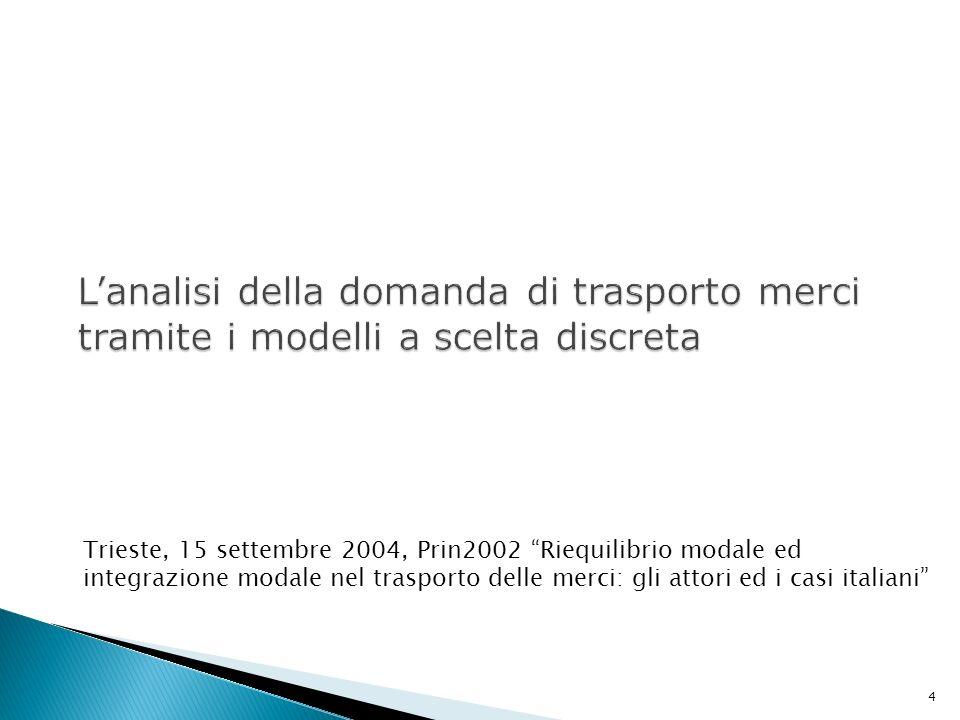 4 Trieste, 15 settembre 2004, Prin2002 Riequilibrio modale ed integrazione modale nel trasporto delle merci: gli attori ed i casi italiani