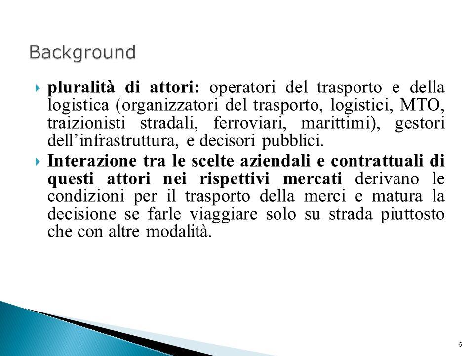 pluralità di attori: operatori del trasporto e della logistica (organizzatori del trasporto, logistici, MTO, traizionisti stradali, ferroviari, maritt