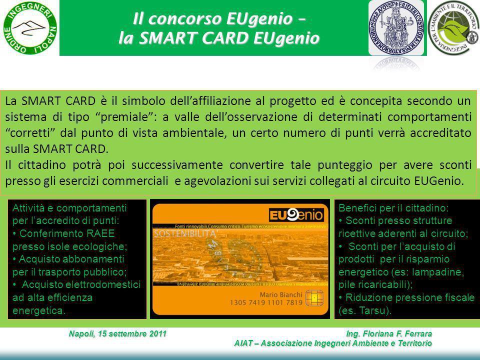 Il concorso EUgenio – la SMART CARD EUgenio Napoli, 15 settembre 2011 Ing. Floriana F. Ferrara AIAT – Associazione Ingegneri Ambiente e Territorio La