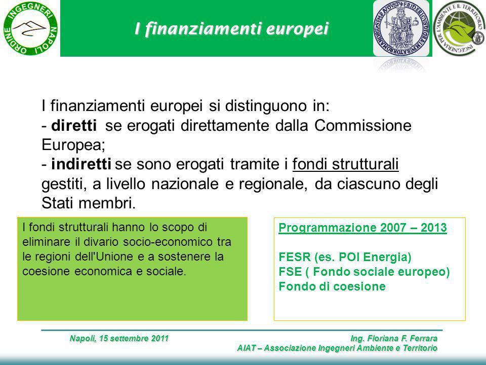 I finanziamenti europei Napoli, 15 settembre 2011 Ing.