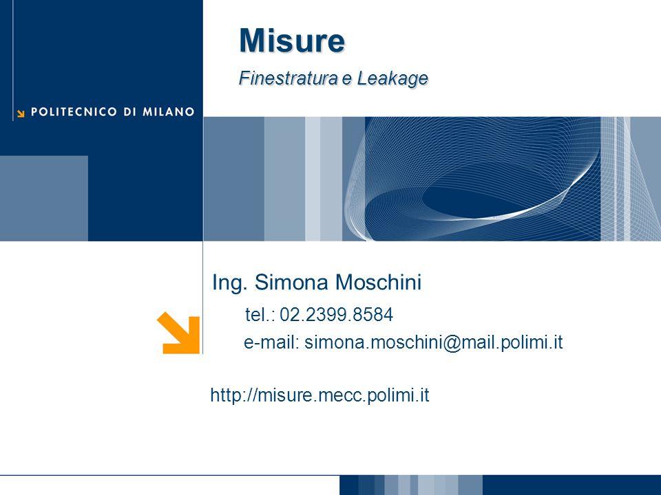Ing. Simona Moschini tel.: 02.2399.8584 e-mail: simona.moschini@mail.polimi.it http://misure.mecc.polimi.it Misure Finestratura e Leakage