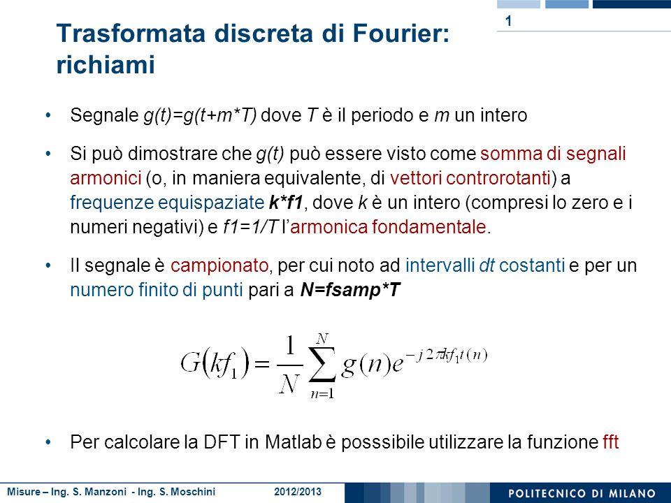 Misure – Ing. S. Manzoni - Ing. S. Moschini 2012/2013 Segnale g(t)=g(t+m*T) dove T è il periodo e m un intero Si può dimostrare che g(t) può essere vi