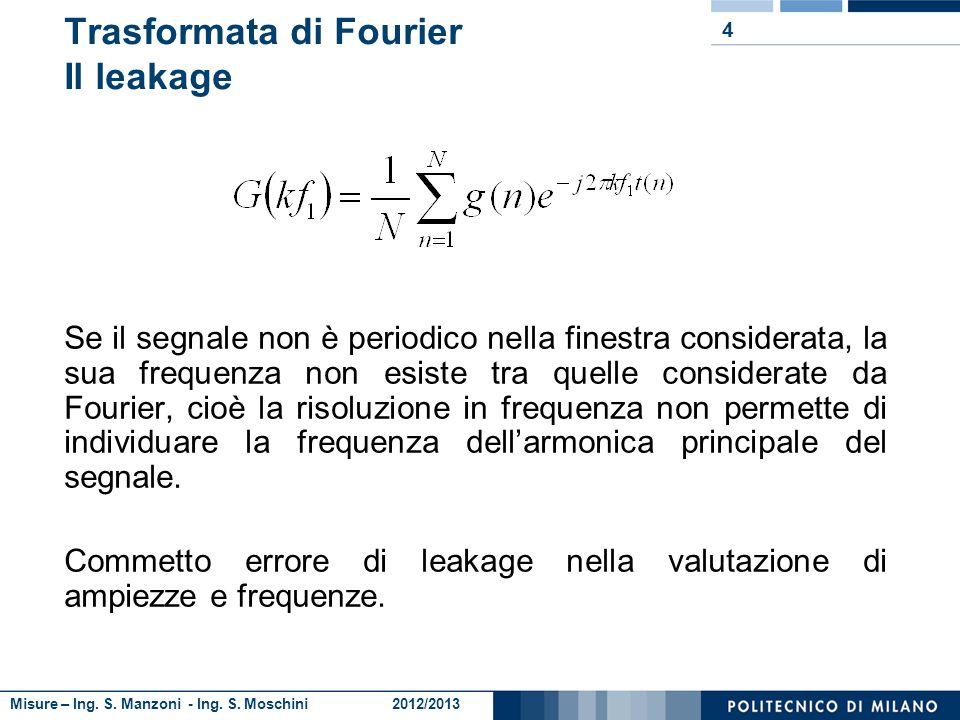 Misure – Ing. S. Manzoni - Ing. S. Moschini 2012/2013 4 Trasformata di Fourier Il leakage Se il segnale non è periodico nella finestra considerata, la