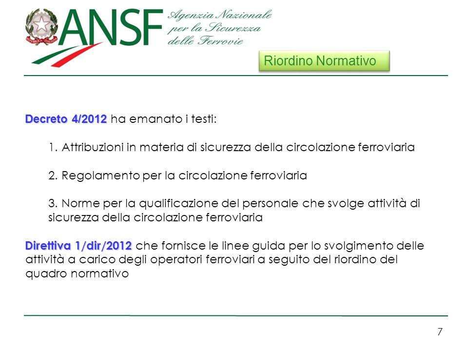 7 Decreto 4/2012 Decreto 4/2012 ha emanato i testi: 1.