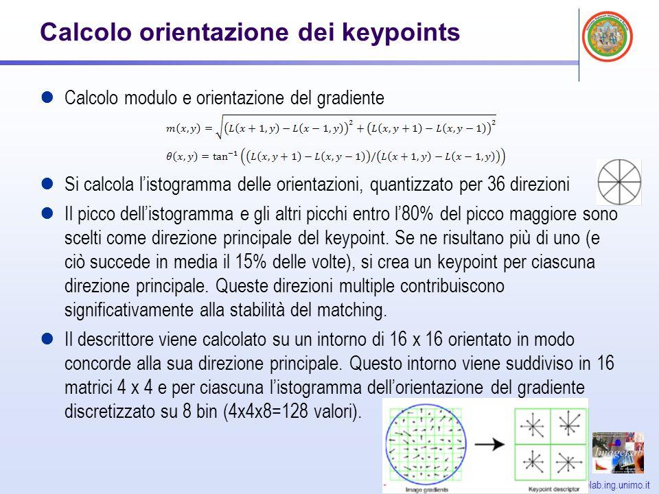 http://imagelab.ing.unimo.it Calcolo orientazione dei keypoints Calcolo modulo e orientazione del gradiente Si calcola listogramma delle orientazioni, quantizzato per 36 direzioni Il picco dellistogramma e gli altri picchi entro l80% del picco maggiore sono scelti come direzione principale del keypoint.