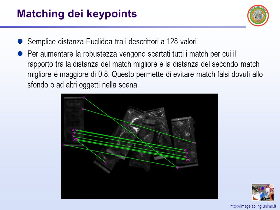 http://imagelab.ing.unimo.it Matching dei keypoints Semplice distanza Euclidea tra i descrittori a 128 valori Per aumentare la robustezza vengono scartati tutti i match per cui il rapporto tra la distanza del match migliore e la distanza del secondo match migliore è maggiore di 0.8.