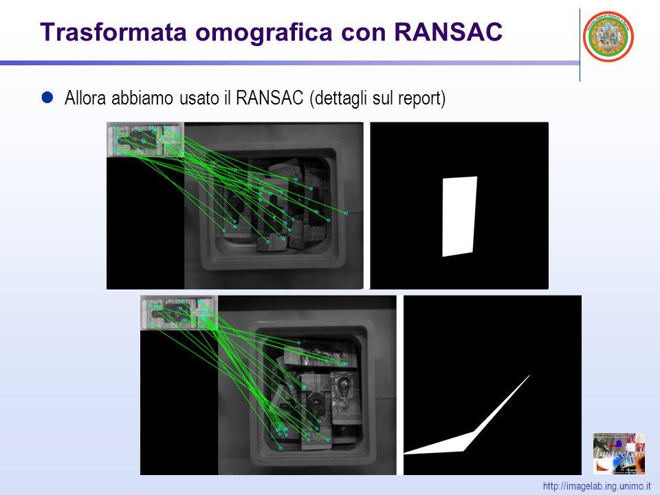 http://imagelab.ing.unimo.it Trasformata omografica con RANSAC Allora abbiamo usato il RANSAC (dettagli sul report)