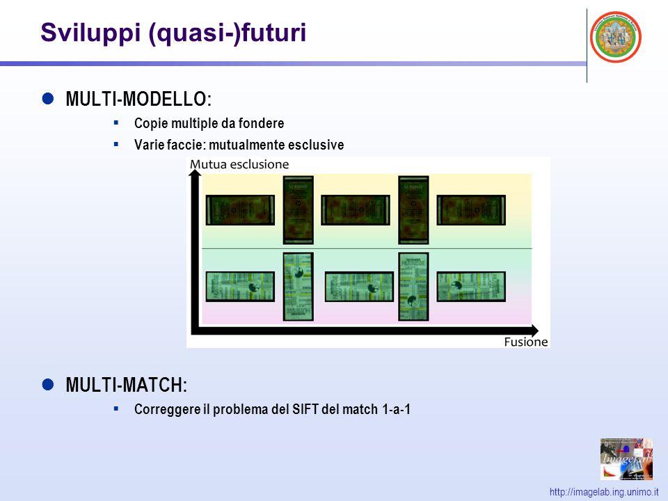 http://imagelab.ing.unimo.it Sviluppi (quasi-)futuri MULTI-MODELLO: Copie multiple da fondere Varie faccie: mutualmente esclusive MULTI-MATCH: Correggere il problema del SIFT del match 1-a-1