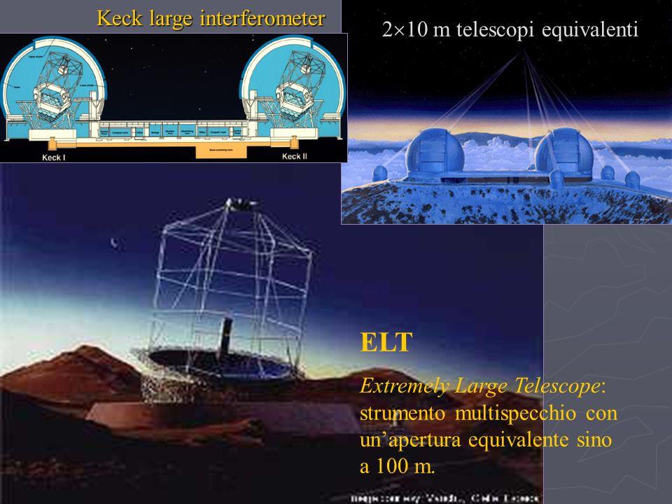 ELT Extremely Large Telescope: strumento multispecchio con unapertura equivalente sino a 100 m. Keck large interferometer 2 10 m telescopi equivalenti