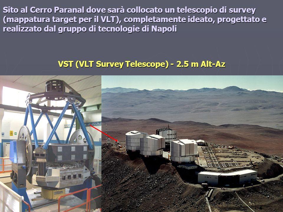 VST (VLT Survey Telescope) - 2.5 m Alt-Az Sito al Cerro Paranal dove sarà collocato un telescopio di survey (mappatura target per il VLT), completamen