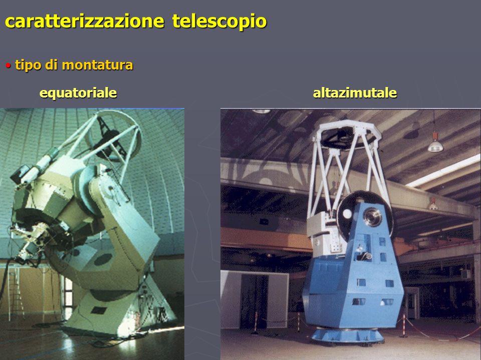 caratterizzazione telescopio tipo di montatura tipo di montatura equatoriale equatoriale altazimutale altazimutale