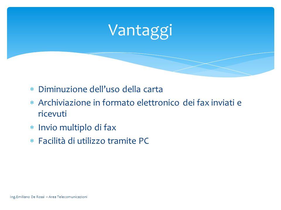 Ing.Emiliano De Rossi – Area Telecomunicazioni Diminuzione delluso della carta Archiviazione in formato elettronico dei fax inviati e ricevuti Invio m