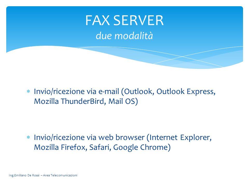 Invio/ricezione via e-mail (Outlook, Outlook Express, Mozilla ThunderBird, Mail OS) Invio/ricezione via web browser (Internet Explorer, Mozilla Firefo