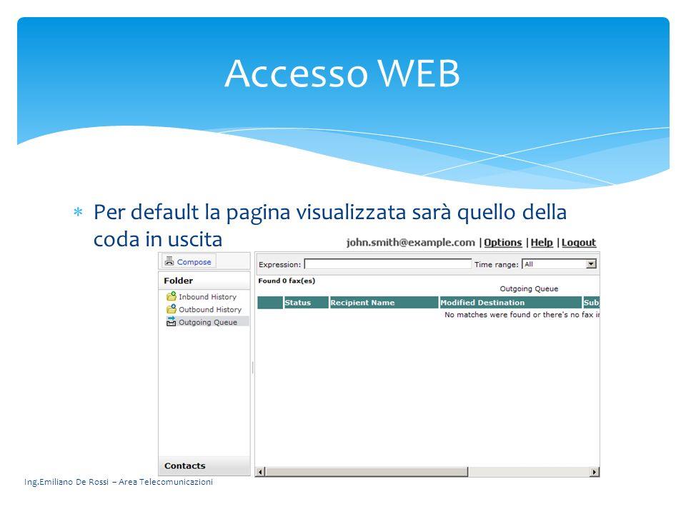 Ing.Emiliano De Rossi – Area Telecomunicazioni Per default la pagina visualizzata sarà quello della coda in uscita Accesso WEB