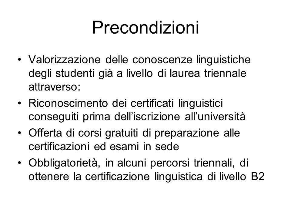 Precondizioni Valorizzazione delle conoscenze linguistiche degli studenti già a livello di laurea triennale attraverso: Riconoscimento dei certificati linguistici conseguiti prima delliscrizione alluniversità Offerta di corsi gratuiti di preparazione alle certificazioni ed esami in sede Obbligatorietà, in alcuni percorsi triennali, di ottenere la certificazione linguistica di livello B2