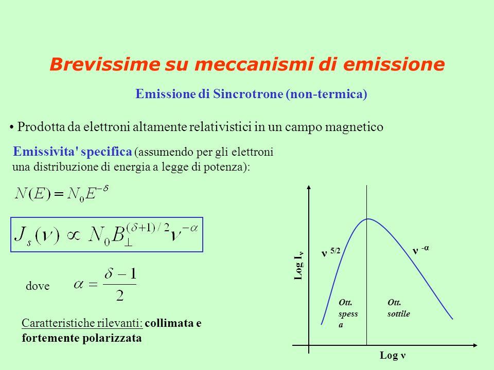 Brevissime su meccanismi di emissione Emissione di Sincrotrone (non-termica) Prodotta da elettroni altamente relativistici in un campo magnetico Emissivita specifica (assumendo per gli elettroni una distribuzione di energia a legge di potenza): Log ν Log I ν ν 5/2 ν - α dove Caratteristiche rilevanti: collimata e fortemente polarizzata Ott.