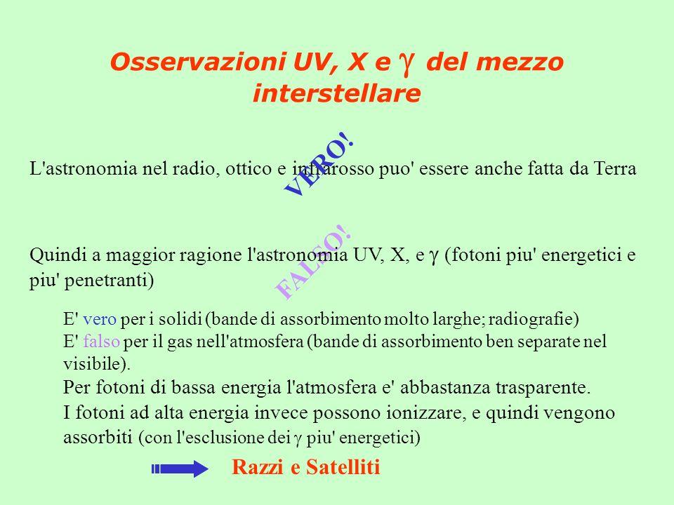 Osservazioni UV, X e del mezzo interstellare L astronomia nel radio, ottico e infrarosso puo essere anche fatta da Terra VERO.