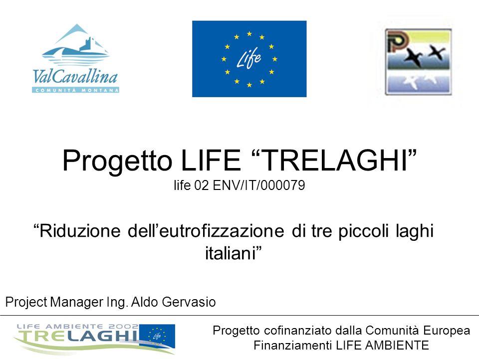 Progetto LIFE TRELAGHI life 02 ENV/IT/000079 Riduzione delleutrofizzazione di tre piccoli laghi italiani Progetto cofinanziato dalla Comunità Europea