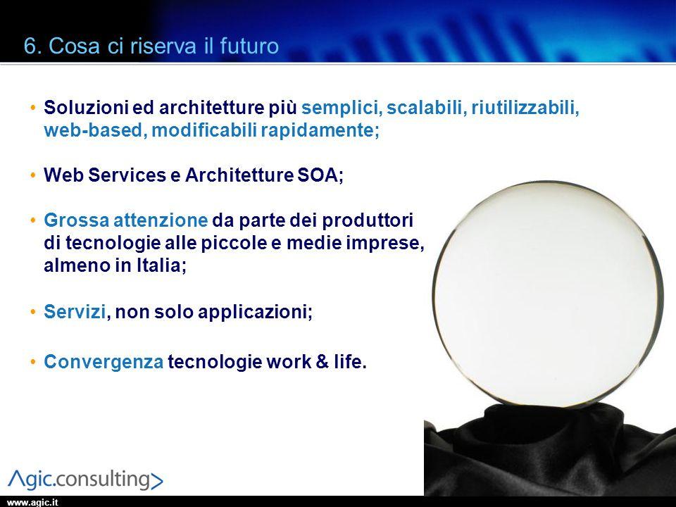 www.agic.it 6. Cosa ci riserva il futuro Soluzioni ed architetture più semplici, scalabili, riutilizzabili, web-based, modificabili rapidamente; Web S
