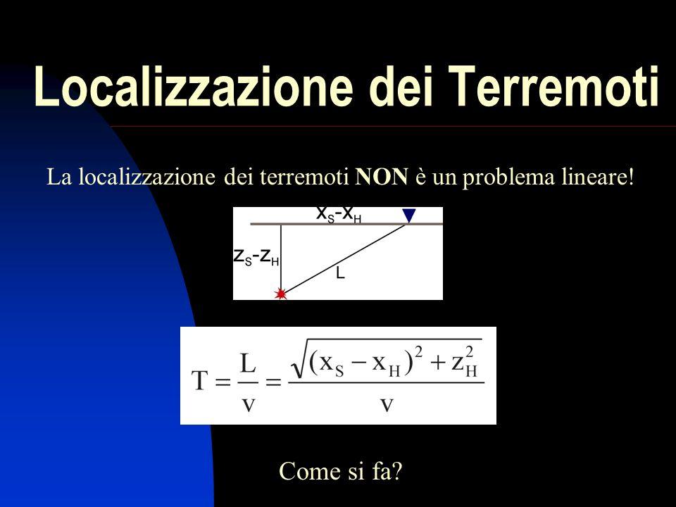 Localizzazione dei Terremoti La localizzazione dei terremoti NON è un problema lineare! Come si fa?