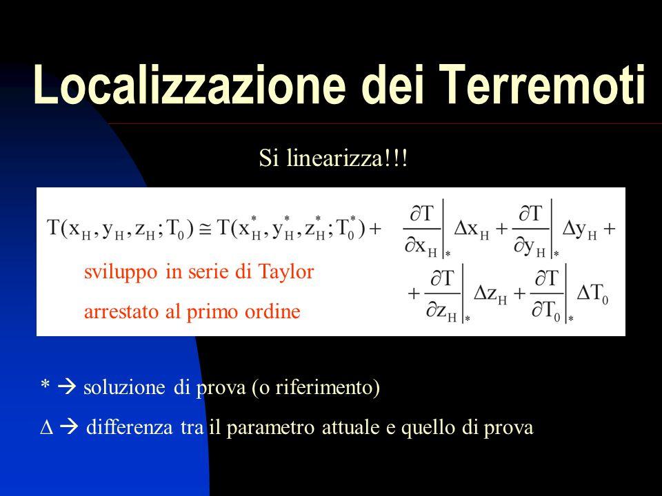 Localizzazione dei Terremoti Si linearizza!!.
