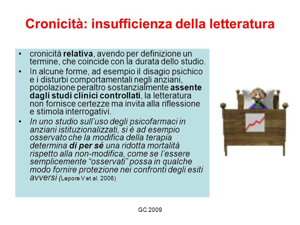 GC 2009 Cronicità: insufficienza della letteratura cronicità relativa, avendo per definizione un termine, che coincide con la durata dello studio.