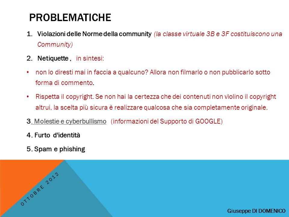 PROBLEMATICHE 1.Violazioni delle Norme della community (la classe virtuale 3B e 3F costituiscono una Community) 2.Netiquette, in sintesi: non lo diresti mai in faccia a qualcuno.