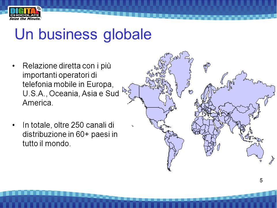 5 Un business globale Relazione diretta con i più importanti operatori di telefonia mobile in Europa, U.S.A., Oceania, Asia e Sud America. In totale,