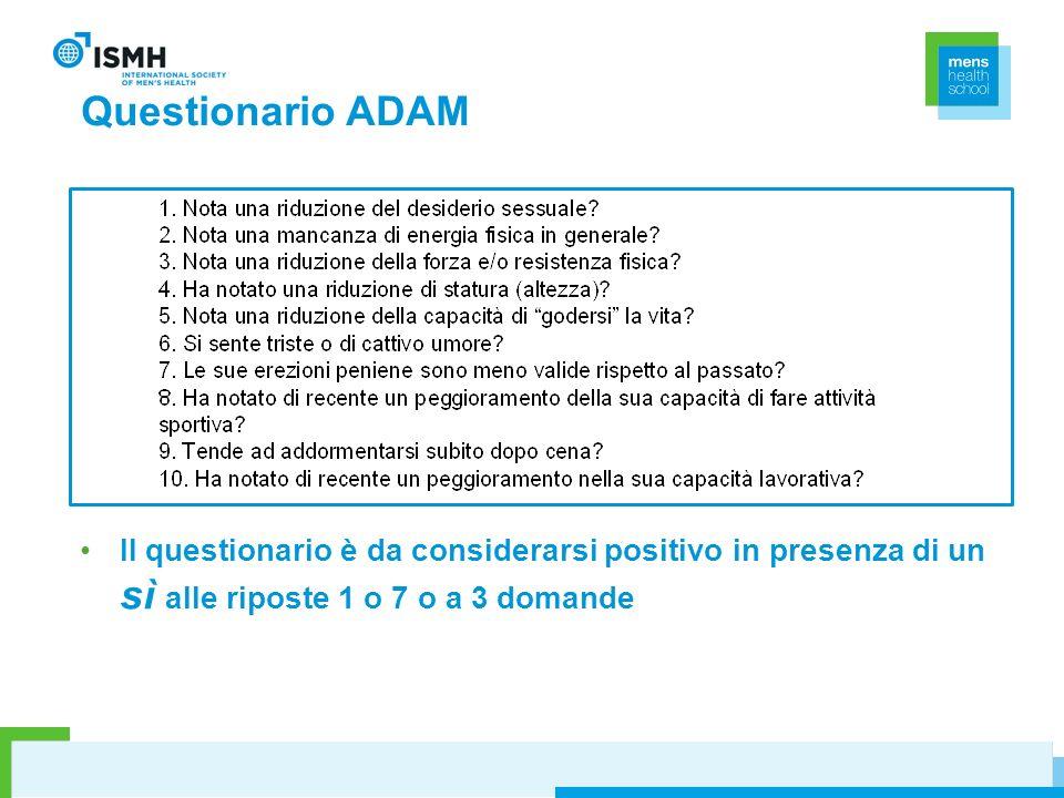 Questionario ADAM Il questionario è da considerarsi positivo in presenza di un sì alle riposte 1 o 7 o a 3 domande