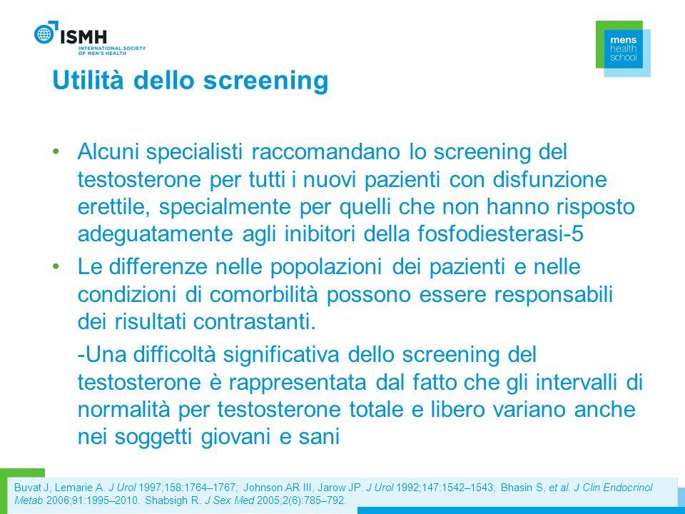 Utilità dello screening Alcuni specialisti raccomandano lo screening del testosterone per tutti i nuovi pazienti con disfunzione erettile, specialment