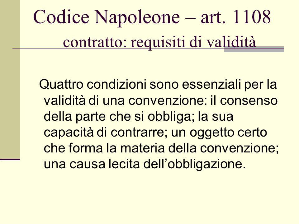 Codice Napoleone – art. 1108 contratto: requisiti di validità Quattro condizioni sono essenziali per la validità di una convenzione: il consenso della