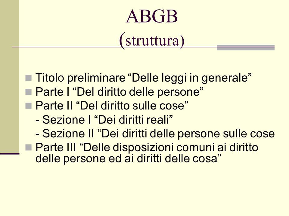 ABGB ( struttura) Titolo preliminare Delle leggi in generale Parte I Del diritto delle persone Parte II Del diritto sulle cose - Sezione I Dei diritti