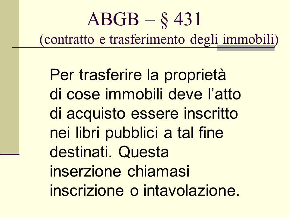 ABGB – § 431 (contratto e trasferimento degli immobili) Per trasferire la proprietà di cose immobili deve latto di acquisto essere inscritto nei libri