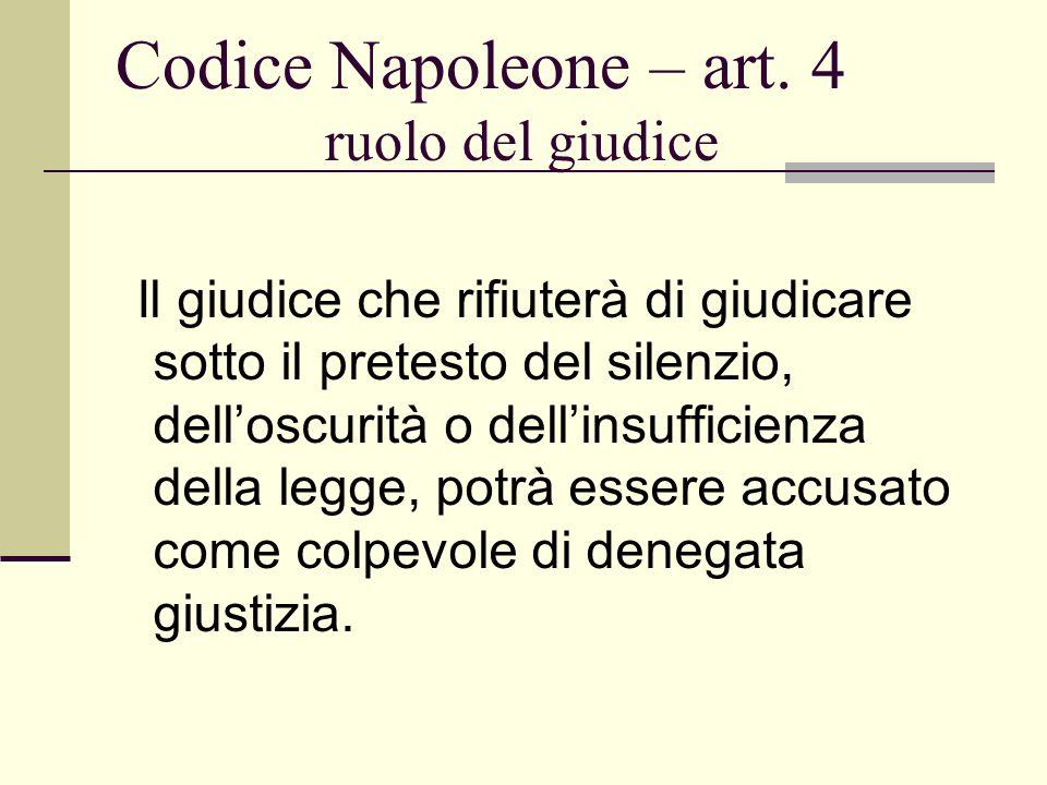 Codice Napoleone – art. 4 ruolo del giudice Il giudice che rifiuterà di giudicare sotto il pretesto del silenzio, delloscurità o dellinsufficienza del