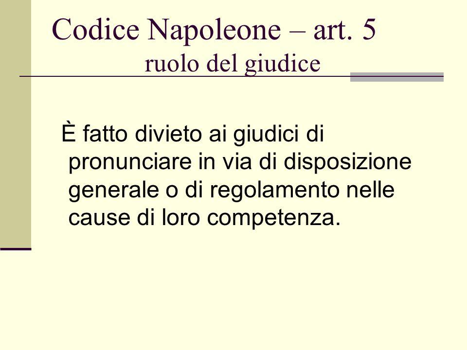Codice Napoleone – art. 5 ruolo del giudice È fatto divieto ai giudici di pronunciare in via di disposizione generale o di regolamento nelle cause di