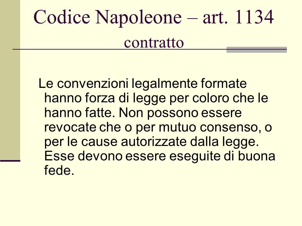 Codice Napoleone – art. 1134 contratto Le convenzioni legalmente formate hanno forza di legge per coloro che le hanno fatte. Non possono essere revoca